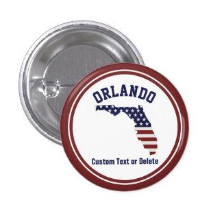 Florida Map | Patriotic USA Flag | Your City, Text Button