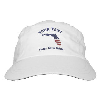 Florida Map | Patriotic USA Flag | Your City, Text Headsweats Hat