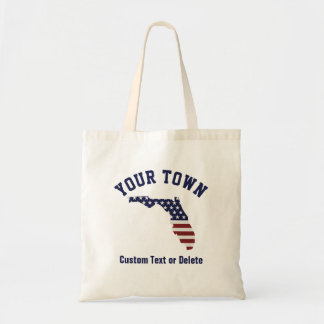 Florida Map | Patriotic USA Flag | Your City, Text Tote Bag