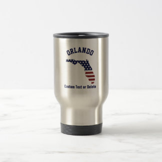 Florida Map | Patriotic USA Flag | Your City, Text Travel Mug