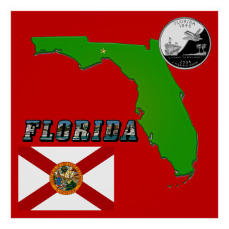 Florida Map, Picture Text and State Quarter Poster