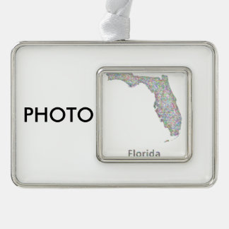 Florida map silver plated framed ornament