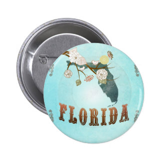 Florida Map With Lovely Birds Button