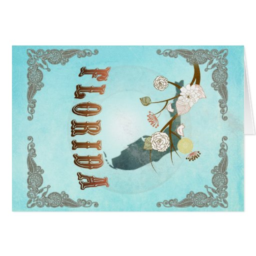 Florida Map With Lovely Birds Greeting Card