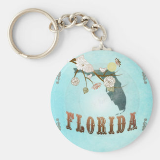 Florida Map With Lovely Birds Keychain