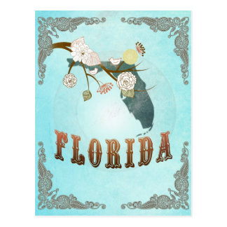 Florida Map With Lovely Birds Postcard