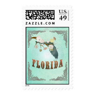 Florida Map With Lovely Birds Stamp