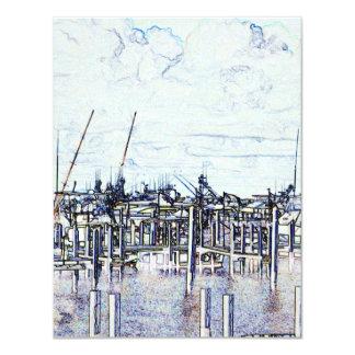 "Florida Marina Graphic with boats and sky 4.25"" X 5.5"" Invitation Card"