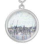 Florida Marina Graphic with boats and sky Custom Jewelry