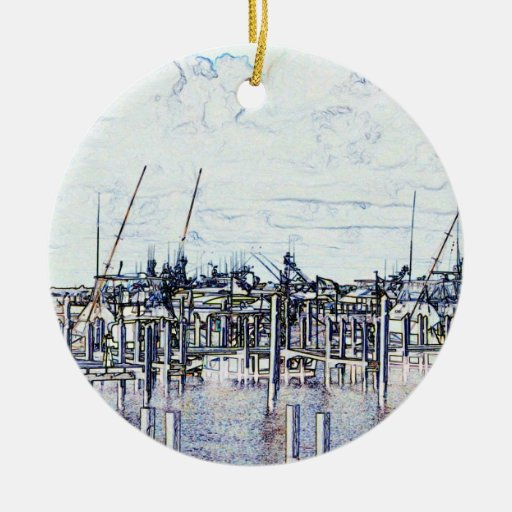 Florida Marina Graphic with boats and sky Christmas Tree Ornaments