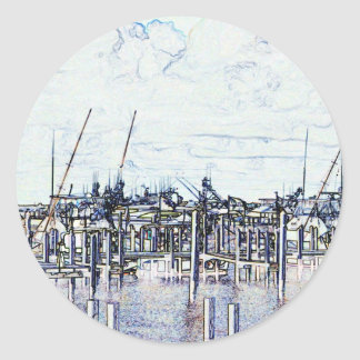 Florida Marina Graphic with boats and sky Round Stickers