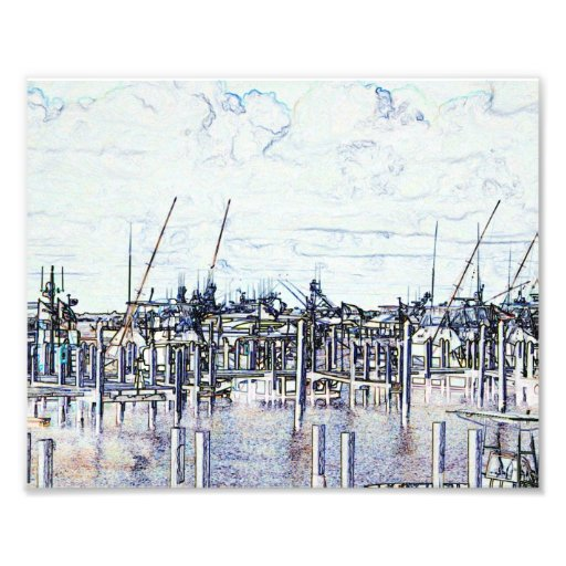 Florida Marina Graphic with boats and sky Photo