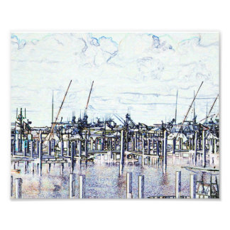 Florida Marina Graphic with boats and sky Photo Print