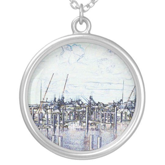 Florida Marina Graphic with boats and sky Silver Plated Necklace