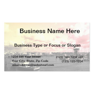 Florida Marina Photo Yellow and Pink Sky Business Card