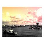 Florida Marina Photo Yellow and Pink Sky Post Card
