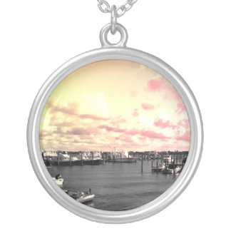Florida Marina Photo Yellow and Pink Sky Round Pendant Necklace