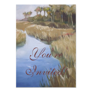 Florida marshland wilderness grasses and palm tree card