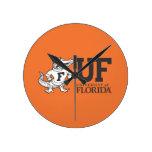 Florida Mascot Albert With Hat - Black & White Wall Clocks