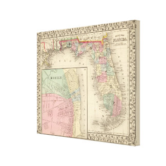 Florida, Mobile Map by Mitchell Canvas Print