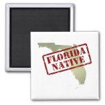 Florida Native Stamped on Map Fridge Magnets