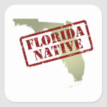 Florida Native Stamped on Map Square Sticker