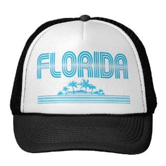 Florida Neon Palm Trees AQUA Trucker Hat