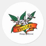 Florida Orange Blossom Round Stickers