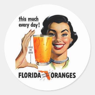 Florida Orange Juice Classic Round Sticker