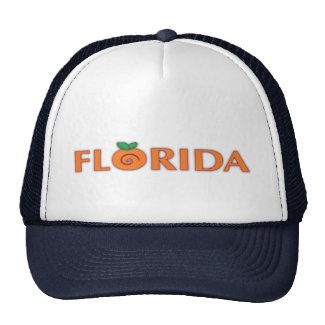 FLORIDA Orange Text Trucker Hat