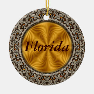 Florida Double-Sided Ceramic Round Christmas Ornament