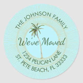 Florida Palm Golden Sun Moving Announcement Classic Round Sticker