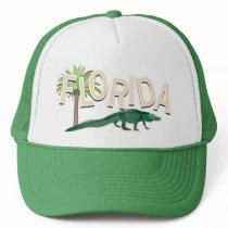 Florida Palm Tree And Alligator Trucker Hat