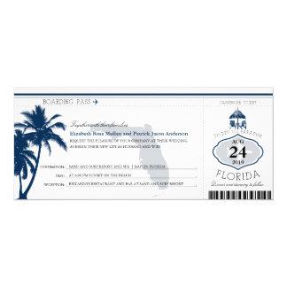 Florida Palm Tree Boarding Pass Wedding Card