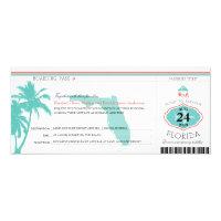 Florida Palm Tree Boarding Pass Wedding Card (<em>$2.35</em>)