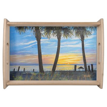 Ocean Themed FLORIDA PALM TREE SUNSET SERVING TRAY