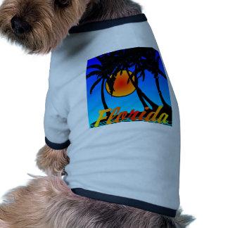 Florida Palm Trees Sunset Dog Tee Shirt