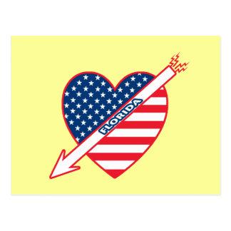 Florida Patriot Flag Heart Postcard