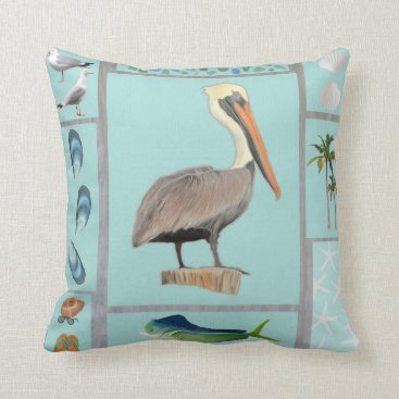 lauriekentdesigns Florida Pelican Motif Throw Pillow