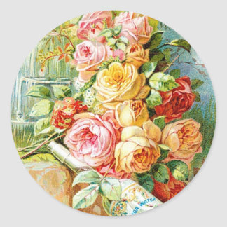 Florida Perfume Water with Cabbage Roses Classic Round Sticker