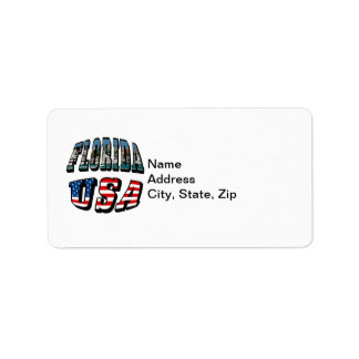 Florida Picture and USA Flag Text Address Label