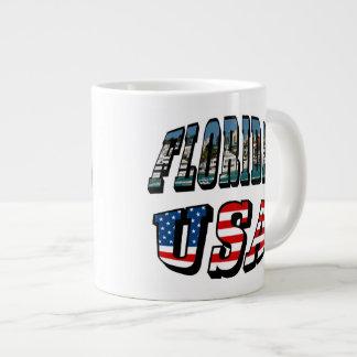Florida Picture and USA Flag Text Large Coffee Mug