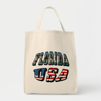 Florida Picture and USA Flag Text Tote Bag
