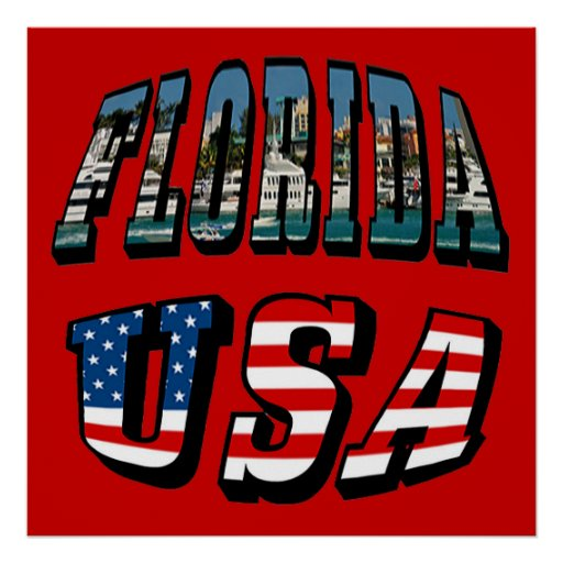 Florida Picture Text and USA Flag Text Poster