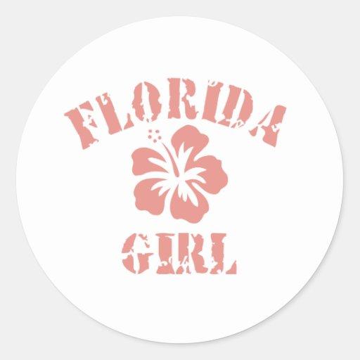 Florida Pink Girl Round Stickers