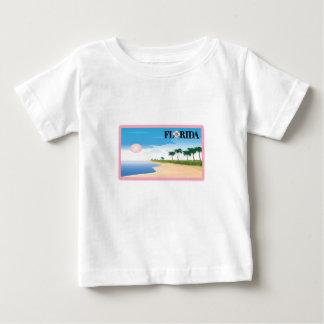 Florida Pink Hibiscus Postcard Beach Scene Baby T-Shirt