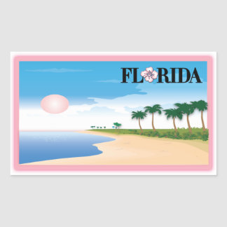 Florida Pink Hibiscus Postcard Beach Scene Rectangular Sticker