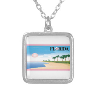 Florida Pink Hibiscus Postcard Beach Scene Silver Plated Necklace