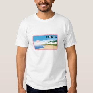Florida Pink Hibiscus Postcard Beach Scene T-Shirt