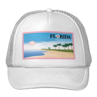 Florida Pink Hibiscus Postcard Beach Scene Trucker Hat